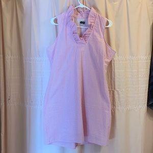 Pink seersucker dress with ruffle collar. Size L